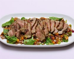 BBQ Lamb Leg with Spinach and Lentil Salad
