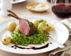 Herb & Caper Lamb Cutlets on Pea, Spinach and Lemon Crush